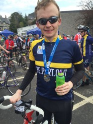 Richard Sanderson with completion medal after the 2016 Etape Caledonia