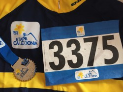 Etape Caledonia montage of cycling jersey, competitor number and finishers medal
