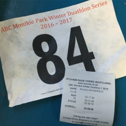 Race number and timing slip for the December 2016 Monikie Duathlon
