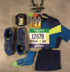 Running kit laid out for the 2018 Paris Marathon