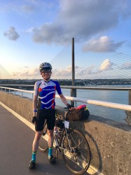 Richard Sanderson with the bridge at Brest in the background