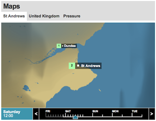 BBC Weather local map centred on Balmerino for 10th December 2011