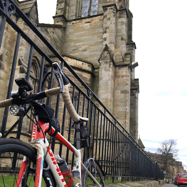 Giant bike at Falkland, Fife, during the Forth and Tay Audax