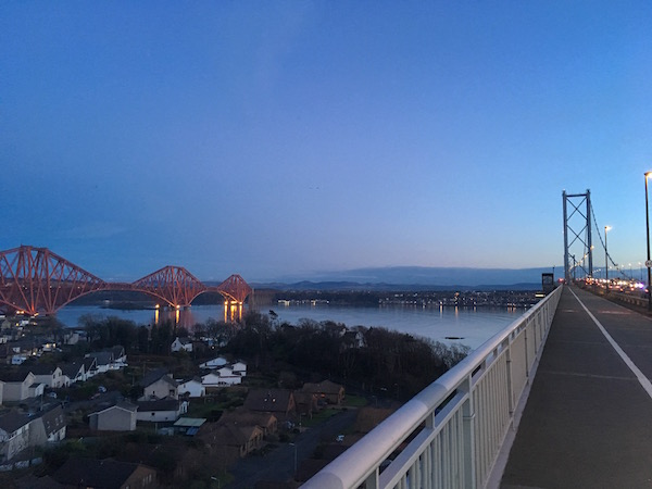 Forth Bridges from the north in the evening twilight during the Forth and Tay Audax