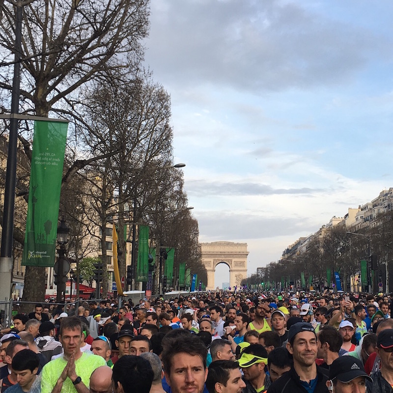 Looking towards the Arc de Triomphe as 40000 runners prepare for the start of the 2018 Paris Marathon