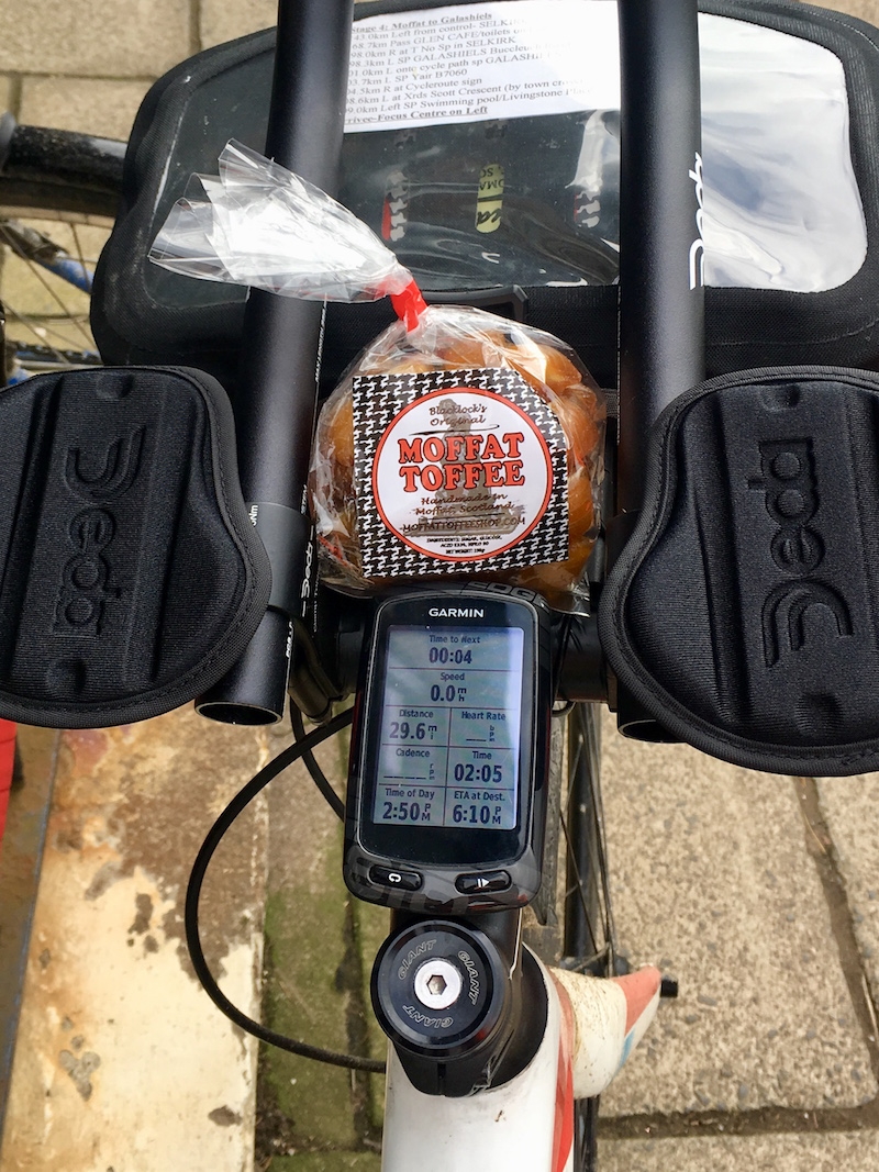 A packet of Moffat Toffee on the handlebars of a bike during the Moffat Toffee audax event 2018