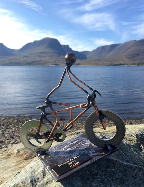 Bealach Mor 2017 KOM trophy with Bealach na Ba in the background
