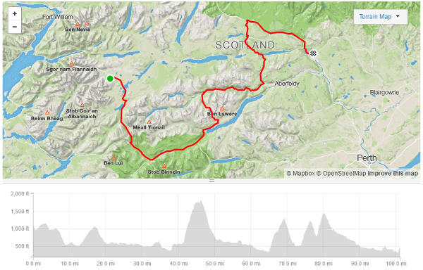 Tour of the Highlands 2017 route day 1